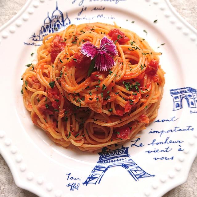 冷えても美味なトマトとツナパスタ