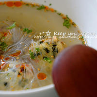+*温泉水99で三陸産ワカメと蕪の団子の春雨スープ+*