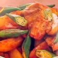 豚バラポテトとオクラの甘辛炒め煮