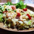 <ごま油で葱をじっくり炒めて作った、ねばキャベエビチャーハン(納豆とキャベツと海老の炒飯)>