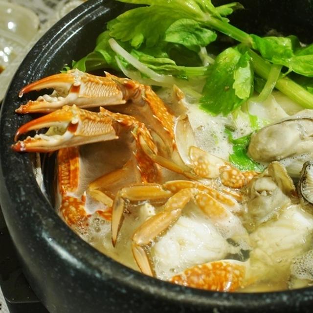 【渡り蟹/牡蠣/セロリの3点鍋】 味ぽんでコク旨!!です♪