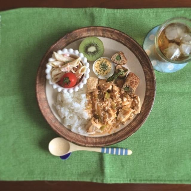 麻婆豆腐もやしとペンネサラダのワンプレート♡