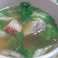 塩豚とセロリのローリエスープ