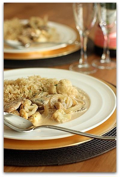 チキンと野菜のマルサラクリームソース&フライパン炊きガーリックライスピラフ