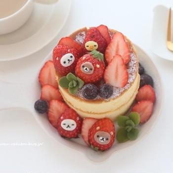 スフレパンケーキのリラックマいちご添え*キャラスイーツ