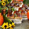 ■おもてなし朝ご飯【①鰻の押し寿司(詳細レシピ付き。)/②デザート】娘夫婦のサプライズ品で作成^^♪