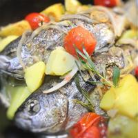 たかべと野菜のかんたん酢のサッと蒸し、エストラゴンの香り