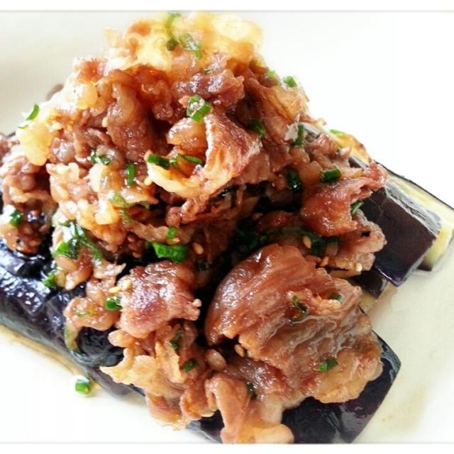 夏野菜で晩ご飯~♡お気に入り登録ありがとう♪なすにピリ辛お肉をトッピング~( ̄∇ ̄*)ゞ