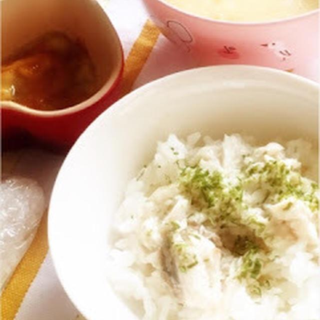 273日目-1 ご飯60g+しいら20g+野菜ペースト&スープ50g+とうもろこし+豆乳+バナナ+きな粉