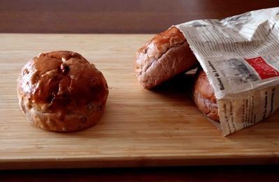 ほんのりむらさき芋の豆パン&おちびさん♪