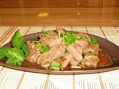 牛肉の塩麹ステーキわさびポン酢♪