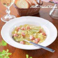 【おもてなし】キャベツと大豆のウィンナースープ♡お豆嫌いのお子さんも思わずススるあったかスープ♪