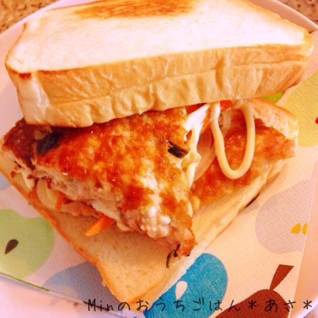 バジル香る豆腐とツナのパテでホットサンドイッチ