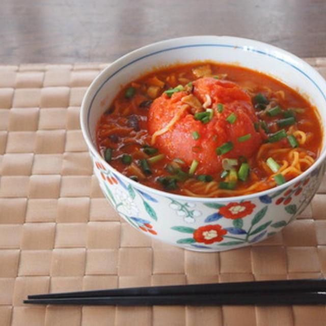 【ピリ辛おいしい!&美白に!】丸ごとトマトのピリ辛ゴマ風味ラーメン☆