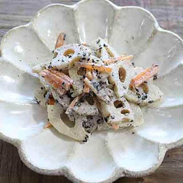 パパっとレンチン副菜!蓮根と人参のゴママヨサラダのレシピ