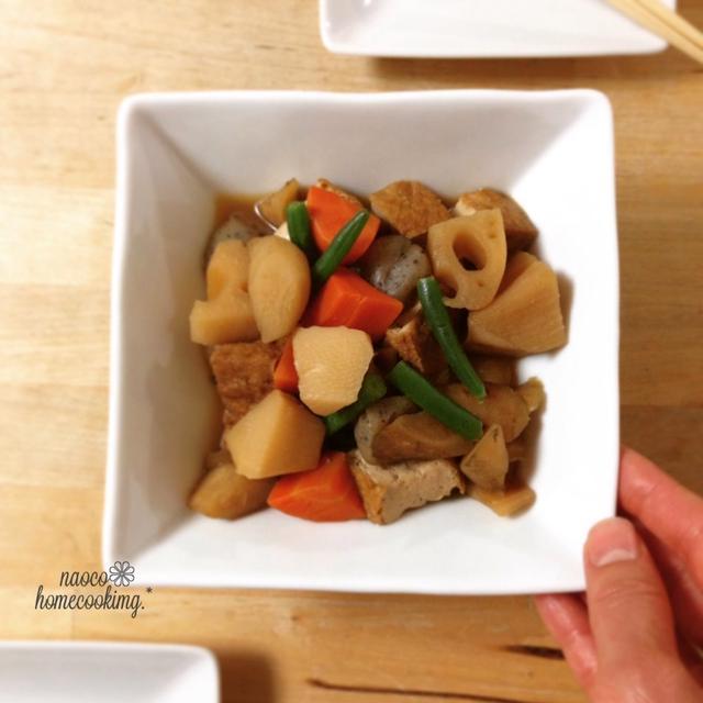 野菜の水煮と厚揚げで簡単♪炒めず作る筑前煮 とおいしいお菓子♪
