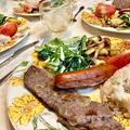 【献立まとめ】サーロインステーキ~自家製シーザードレッシングの小松菜サラダ