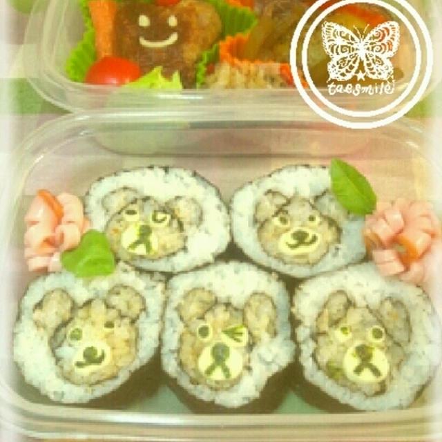 ★レシピ★巻き寿司♪真ん中にくまさん弁当★