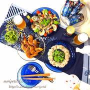藍色の〜夏テーブルコーデ♡とペペロン枝豆♡おつまみ色々♡