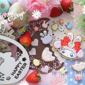 ♡HAPPY  EASTER♡イースターバニーnaマイメロセーラームーンクッキーとネモフィラ♡