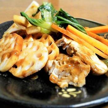 チンゲン菜とレンコンの酢味噌和え
