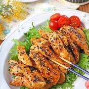 簡単お弁当おかず!鶏むね肉のスティックごま照り焼き♪連載