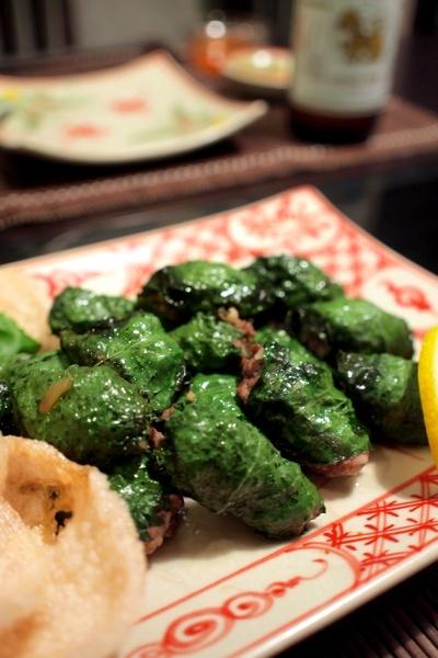 牛肉のバジル,しそ包み焼き他のベトナム料理風
