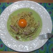 たまにはこんなのも! カルボナーラ風 青汁スープパスタ