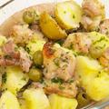 【洋食】チキンとポテトのガーリックグリル&冷凍エビピラフで簡単リゾット。の晩ごはん。