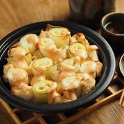 長ねぎと鶏むね肉の明太マヨネーズ焼き