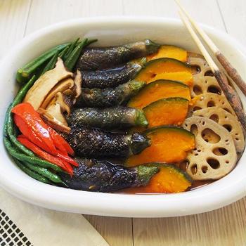 体の心も奇麗でありますように☆『椎茸と昆布の出汁で素揚げ野菜のサッパリ