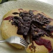 板チョコ乗せホットケーキ