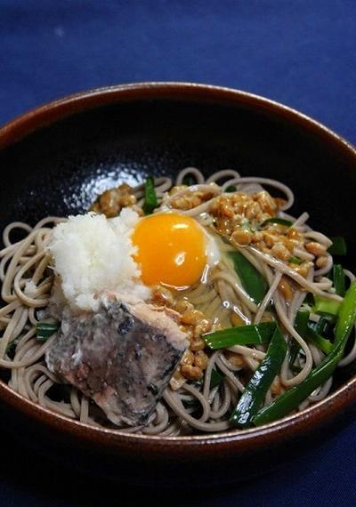 納豆と鯖缶トッピングのにら蕎麦・山形と栃木のドッキング