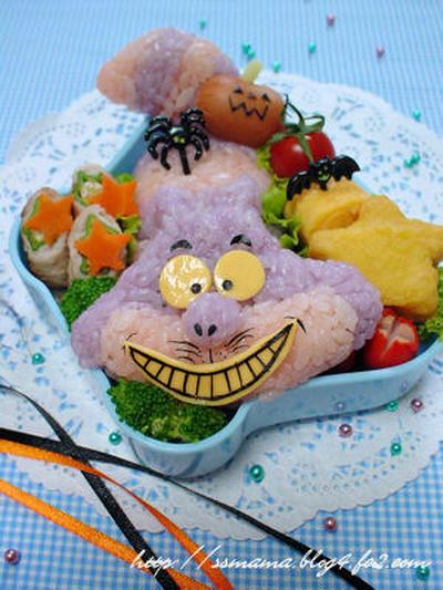 【ハロウィンコラボ弁】不思議の国のアリス*チシャ猫のお弁当