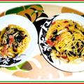 ベーコンとホウレン草・茸のパスタ