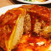 丸ごとキャベツの肉詰めトマト餡かけ