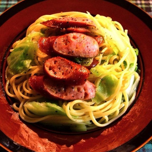 こればっかり食べてんです「ソーセージとキャベツのスパゲティ」