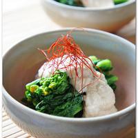菜の花の豆腐ごまクリームソース