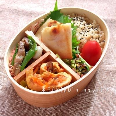 【簡単*作り置き*お弁当】 ポテサラ春巻、豆苗とじゃこの塩昆布和え、塩豚とピーマン炒め