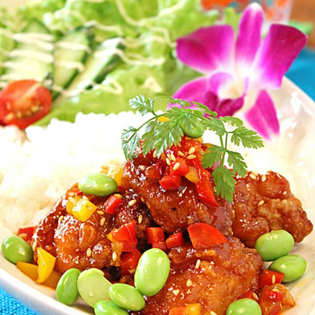 甘辛夏野菜とから揚げの韓国風☆