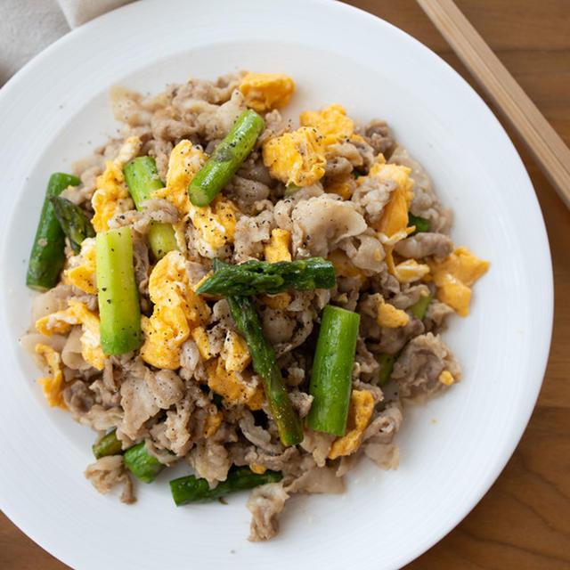 【レシピ】豚とアスパラと卵のコクうま炒め。