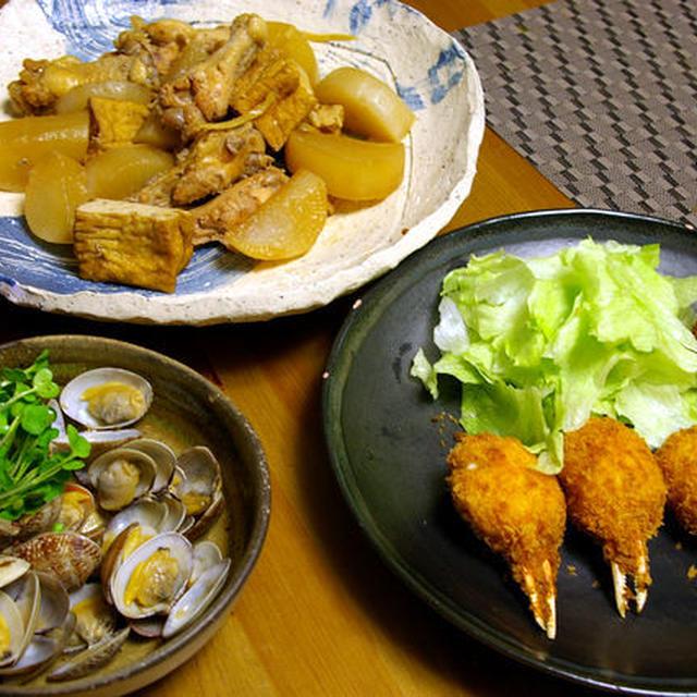 大根と鶏肉と厚揚げのしょうがの煮物。。