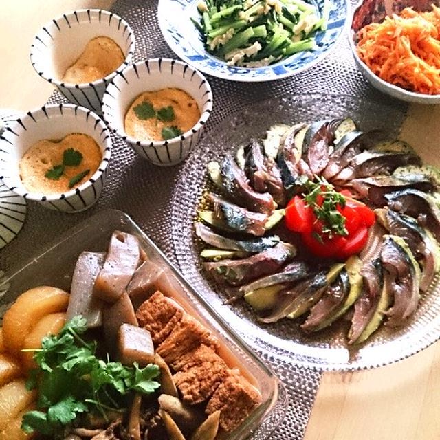 バルサミコしめ鯖のカルパッチョとすき焼き大根