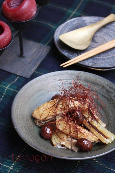 フライパンで20分、手羽中と甘栗のオイスター煮込み 山椒風味♪