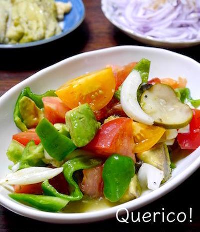 美肌サラダ⁉︎ アボカドと夏野菜のサラダ&青みかんドレッシング