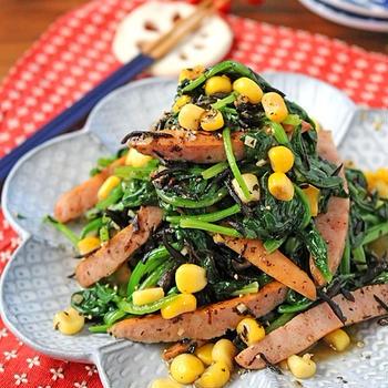 簡単お弁当おかず♪ほうれん草とひじきのガリバタソーセージ炒め!連載