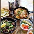砂肝とにんにくの芽のガーリックソテー!とか、肉キムチーズ!で、おうち居酒屋♪