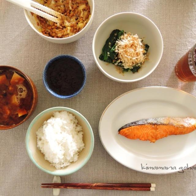 炊きたてご飯と焼き魚と納豆で。