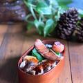 サムジャンで美味しい茹で豚と塩鮭のお弁当!