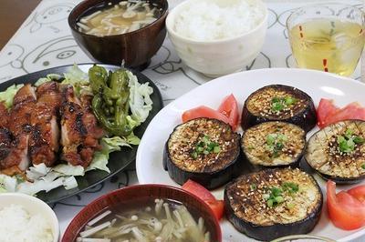 鶏の照り焼き と ナスのステーキ